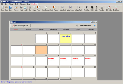 Click to view Smart Calendar Software 3.1.2 screenshot
