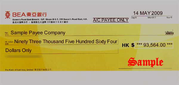 how to write a cheque example uk