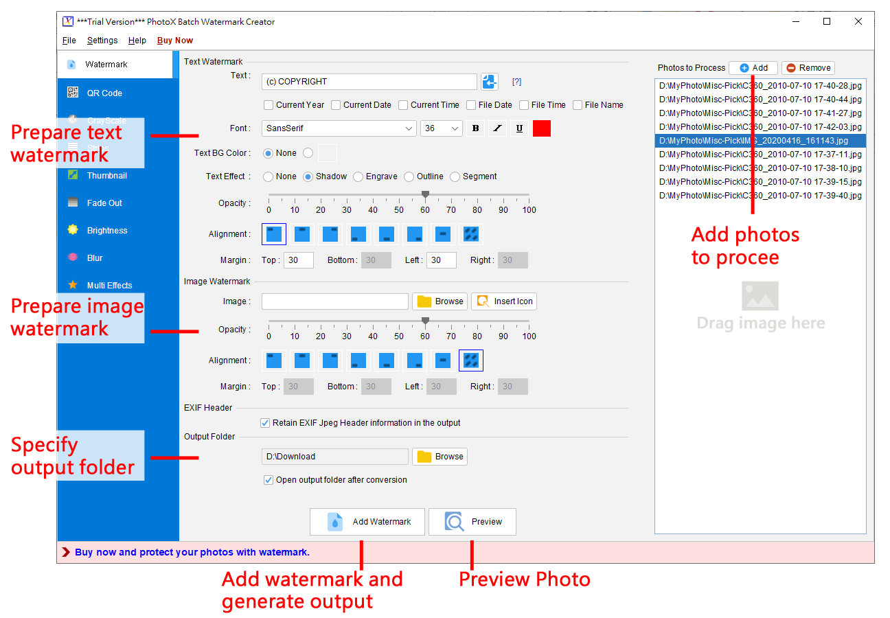 Stamp your photos with watermark in batch.