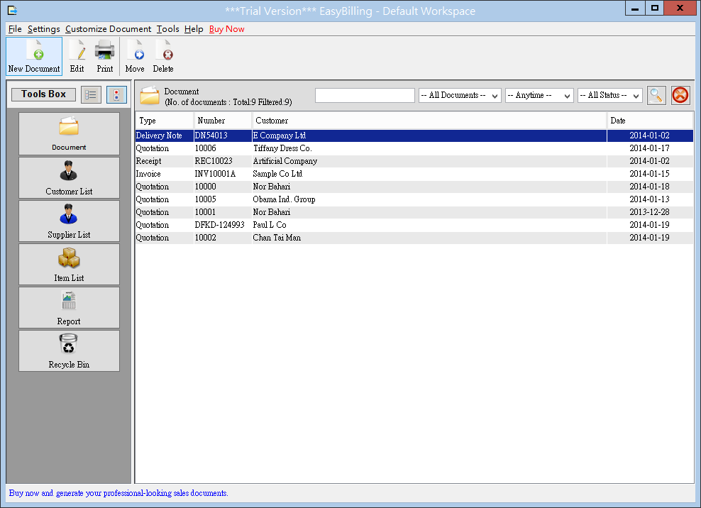 easybilling invoicing software main screen