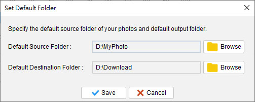 change default soure and output folder of photox watermark software