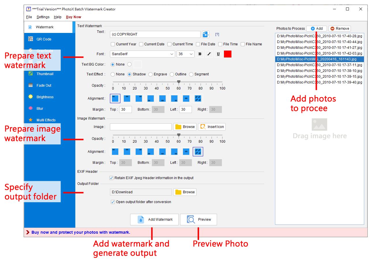 PhotoX Batch Watermark Creator
